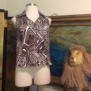 SHIRT-TOP-Native African Design Easy Fit 1X Brown